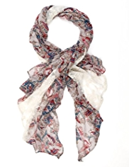 Indigo Collection Lightweight Floral Lace & Bird Print Scarf