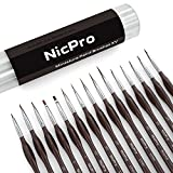 Nicpro Detail Paint Brush Set ,15 Professional Miniature Fine Detail Brushes For Detailing Art Painting Spray,Watercolor,Oil, Acrylic