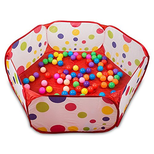 QIYOTM-Portable-Cute-Hexagon-Polka-Dot-Kids-Playpen-Ball-Pit-Indoor-and-Outdoor-Easy-Folding-Play-House-Children-Toy-Play-Tent-with-Tote-Bag-for-Kids-Gifts