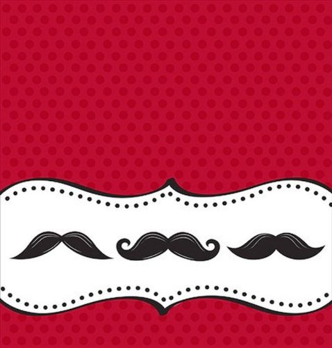 Creative Converting Mustache Madness Plastic Banquet Table Cover, Fits Upto 8' Length