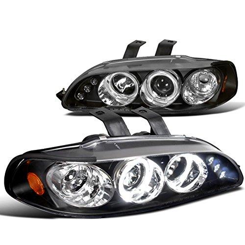 Spec-D Tuning 2LHP-CV923JM-TM Honda Civic 3Dr Dual Halo Led Black Projector Head Lights (Honda Civic 92 95 Headlights compare prices)