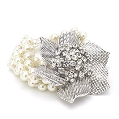 Five Strand Pearl Flower Bracelet||RF10F