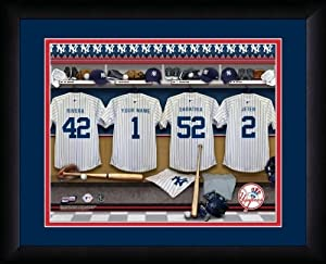 MLB Personalized Locker Room Print Black Frame Customized New York Yankees by You