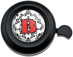 Letter B Initial Damask Elegant Red Black Bicycle Handlebar Bike Bell