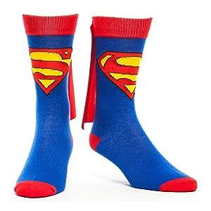 DC COMICS Superman Classic Logo Crew Socks with Superhero Cape Attachment (43/46, Blue/Red)