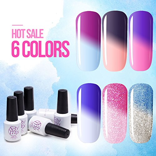Sexy Mix Gel Nail Polish Set Soak Off UV LED Color Changing Nail Polish Set 7ml (6pcs) (Color Changing Nail Polish Uv compare prices)