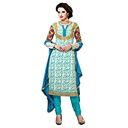 Resham Fabrics Sky Blue Georgette Embroidered Semi stitched salwar suit