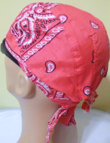HOT PINK, MAGENTA, DARK PINK Paisley Head Wrap Headwrap AKA Bikers Cap, DuRag, Doo Rag, Wrap Bandana, Bandanna 100% Lightweight Cotton Easy to Use Under Baseball Caps, Motorcycle or Football Helmets, Running, Jogging, Exercising, Gardening, Cleaning to Keep Hair Out of the Face and Absorb Sweat or For Natural Balding or Use During Chemo Cancer Treatments