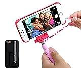 自撮り棒付き iPhone6s iPhone6 iphone6PLUS ケース カバー セルカ棒 有線 手元にシャッターボタン付き セルフィー ケース スマホケース じどり棒 一体型 (BLACK(iphone6/6s用))