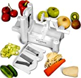 Cuisavours Tri-blade Vegetable Spiral Slicer - Deluxe Fruit and Veggie Pasta Maker as Seen on TV - Food Cutter, Hand Blender, Peeler, Twister, Chopper, Slicer & Dicer - Perfect Zucchini Noodles - Stainless Steel Mandoline Noodle Maker - Essential Plastic Spiralizer for Cookbook - Julienne Tool for Raw Healthy Gourmet Meals - 100% Lifetime Warranty