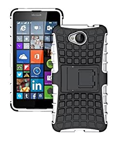 Heartly Flip Kick Stand Spider Hard Dual Rugged Armor Hybrid Bumper Back Case Cover For Microsoft Lumia 650 - Best White
