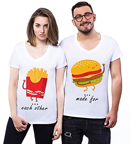 Made For Each Other Burger And Fries Couple Design XL Donne V-neck T-shirt
