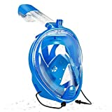 180° Full Face Snorkel Mask,GoPro Compatible, Dry Top Snorkeling Tube for Diving Underwater, Panoramic View, Anti-Fog, Anti-Leak Design for Adults Youth,See More water world Larger Viewing Area