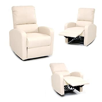 087ss - Armchair Recliner with Footrest, Cream