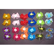 24 Dog Hair Bows - Double Layered with Center Rose Decorations - 12 Pairs of Different Colors- Handmade