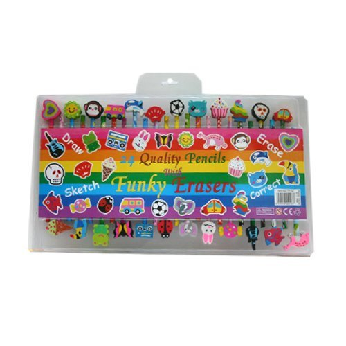 24-quality-funky-pencils-with-funky-erasers