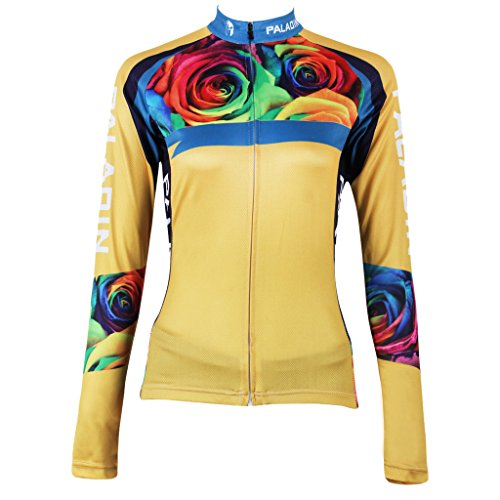 qinying-women-rose-flowers-printing-long-sleeves-bicycle-jersey-yellow-m