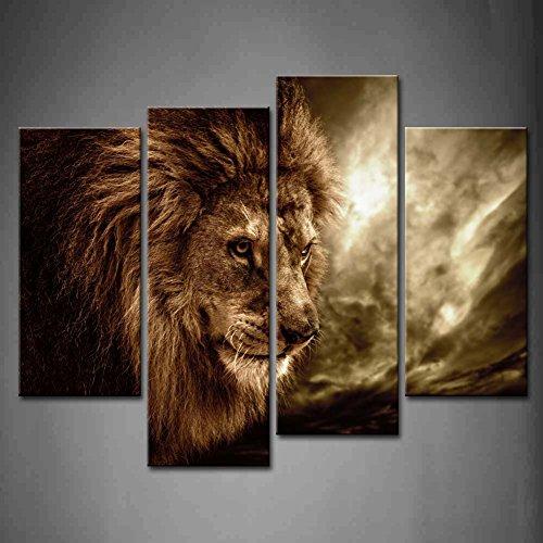 framed brown fierce lion sky animal picture print canvas art wall home decor ebay. Black Bedroom Furniture Sets. Home Design Ideas