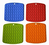 Ioven Silicone Pot Holder, Trivet Mat,jar Opener,spoon Rest and Garlic Peeler (Set of 4) Non Slip, Flexible, Durable, Dishwasher Safe, Heat Resistant Hot Pads