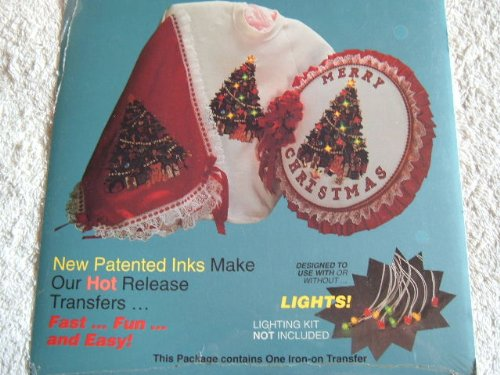 OLD FASHIONED CHRISTMAS IRON-ON TRANSFERS - FLASH N' ABLE #T81109 8 X 9 3/4 INCHES - CAN BE USED WITH LIGHTS