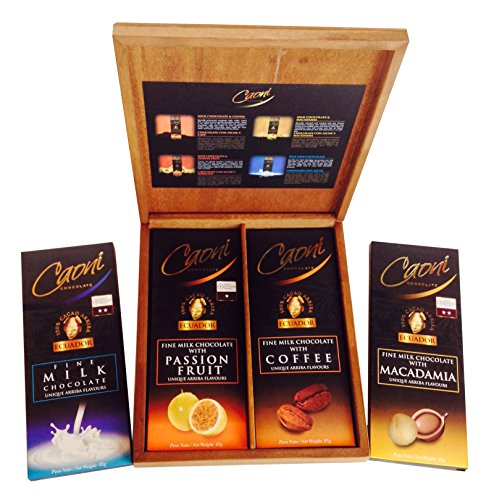 Gourmet Caoni Milk Chocolate Bars From Ecuador, 4 Flavor Variety Assortment, Premium Wood Gift Box Set (Large - 85 Gram/3 Oz Bars) (Godiva Espresso Beans compare prices)
