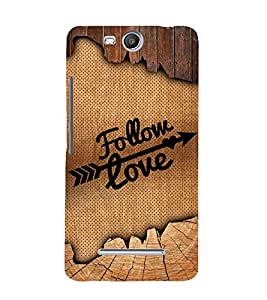 Follow love Design 3D Hard Polycarbonate Designer Back Case Cover for Micromax Bolt Q338