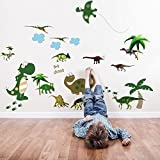 Walplus AY7008 Large Dinosaur Plus JM8195 Dinosaur Wall Sticker Combo Pack, Multi-Colour