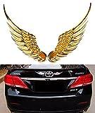 Mercury オシャレ 車外装 カー用品 金属製 翼の形 天使の翼 車のステッカー 立体3D エンブレム ステッカー (ゴールド)