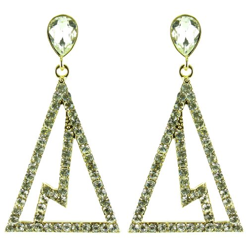 [Clear Crystal on Gold Plated Geometric Lightning Strike Triangle Earrings] (Lightning Strike Costume)