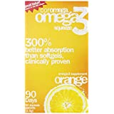 Coromega Omega-3 Supplement, Orange Flavor, Squeeze Packets, 90-Count Box ~ Coromega