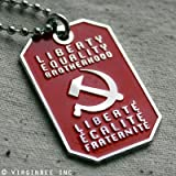 HAMMER AND SICKLE SOCIALISM MOTTO LIBERTY EQUALITY DOG TAG COMMUNIST PENDANT