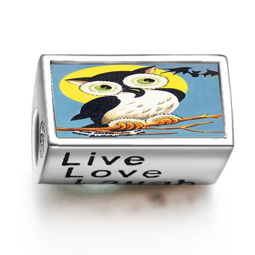 Soufeel Retro-Eule Halloween bat photo Live Love Laugh europ?ischen Bead