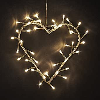 Decorative Warm White LED Battery Operated Metal Heart Wall Light