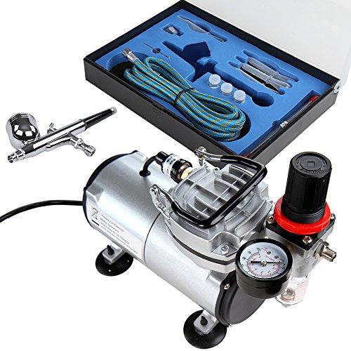 Timbertech-Airbrush-Set-mit-Kompressor-Double-Action-Airbrush-Pistole-und-Zubehr-Dsen-Schlauch-etc