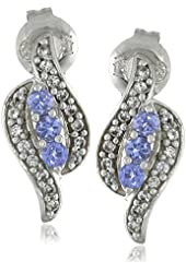 14k White Gold Tanzanite and Created White Sapphire Post Earrings
