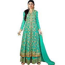 Vasu Saree Georgette Sea Green Colored Designer Palazzo Salwar Suit