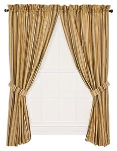 Ellis Curtain Kensington Stripe 68-By-63 Inch Tailored Panel Pair Curtains with Tiebacks, Red Stripe