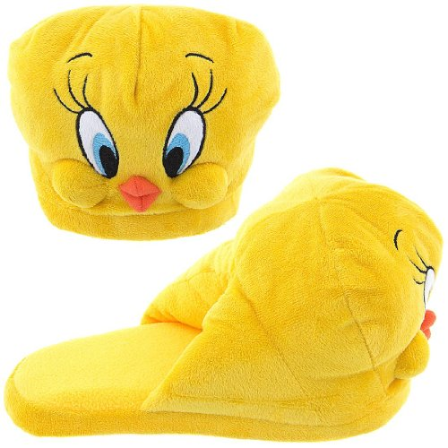 Tweety Bird Looney Tunes Big Face Head Adult Plush Character Slippers Small 6/7 front-104819