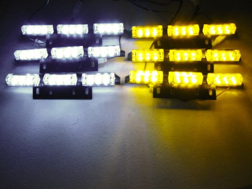 54 X Ultra Bright Yellow And White Led Emergency Warning Use Flashing Strobe Lights Bar For Windshield Dash Grille