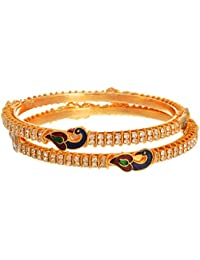 JFL - Dazzling Diamond Peacock One Gram Gold Plated Designer Bangles For Girl And Women.