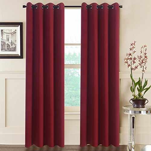 Aquazolax Premium Solid Thermal Insulated Grommet Top Blackout Curtain Drapes for Kitchen (2 Panels, 52