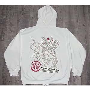 Anime Gundam Double 0 Gn-001 Gundam Exia White Hoodie Sweatshirt Jacket Cosplay Costume, Size of XL
