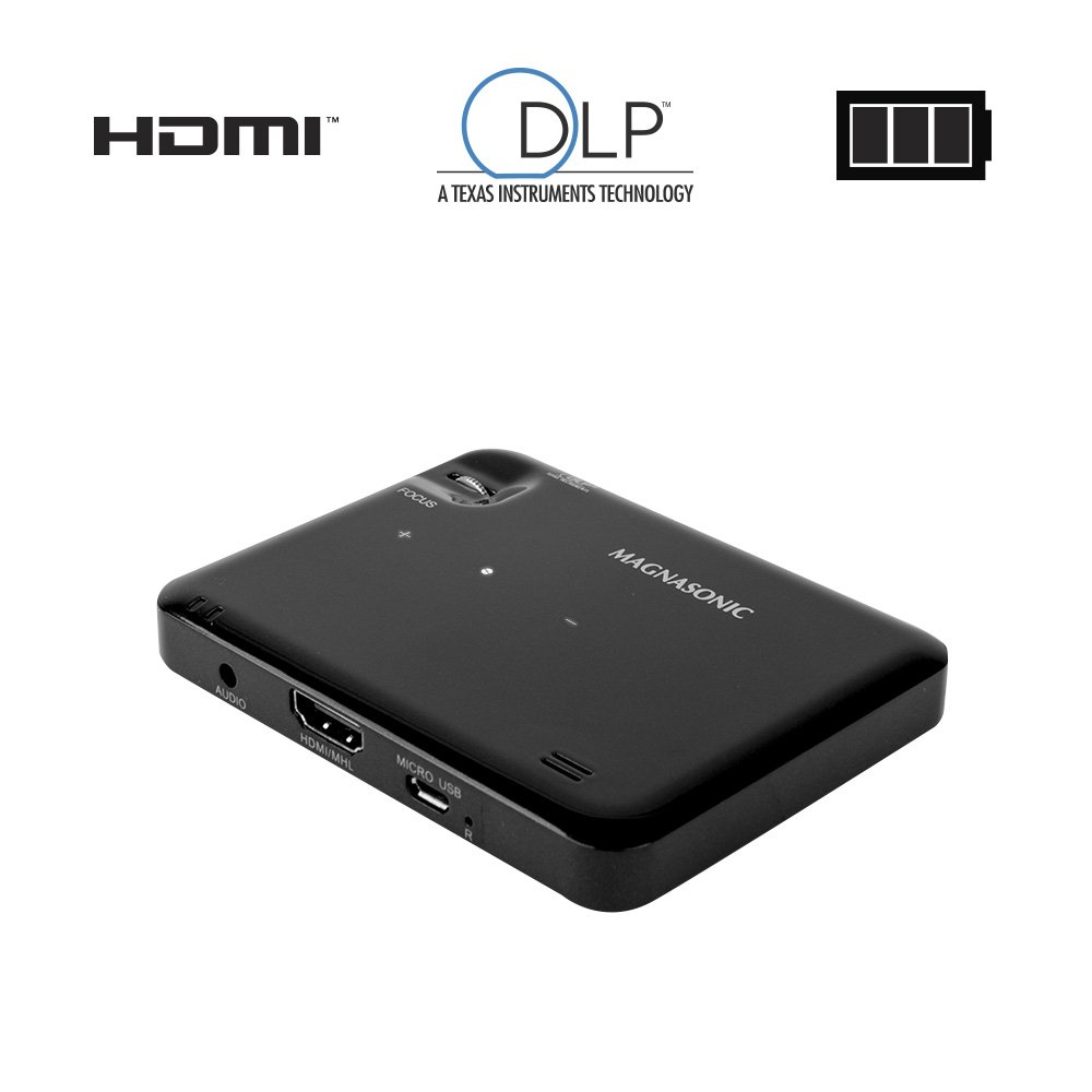 """Magnasonic LED Pocket Pico Video Projector, HDMI, Rechargeable Battery, Built-in Speaker, DLP, 60"""" Hi-Resolution Display for Streaming Movies, Presentations, Smartphones, Tablets, Laptops (PP60)"""