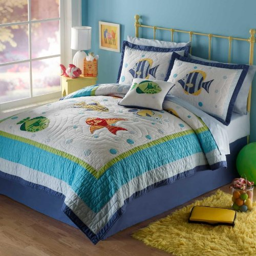 Pem America,Colorful Sea Twin Quilt  Pillow Sham.