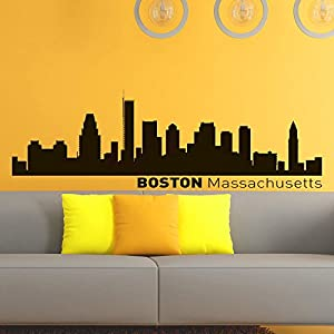 Vinyl wall decals boston skyline city silhouette sticker for Boston wall mural