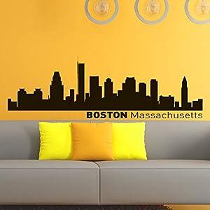 Vinyl Wall Decals Boston Skyline City Silhouette Sticker