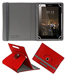 Acm Rotating 360° Leather Flip Case For Zebronics 7t100 Tablet Cover Stand Red