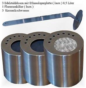 3 leere EdelstahlDosen je 0,5L inkl. Sparplatten + FlammenKiller + KeramikwatteEinsätze   Kritiken und weitere Informationen