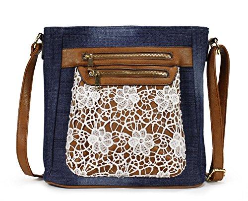 Scarleton Fashion Denim Crossbody Bag H174007 - Blue (Blue Crossbody Purse compare prices)