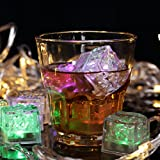 Eastalent 12PCS Flashing Submersible LED Lights Ice Cubes for party Multicolor
